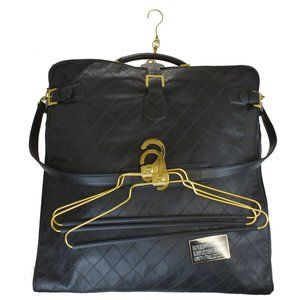 Authentic CHANEL Logo Quilted Garment Bag Leather